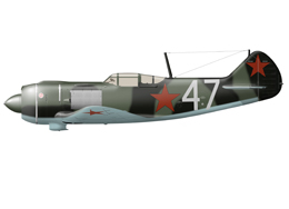 La-5F in a green-black camo scheme