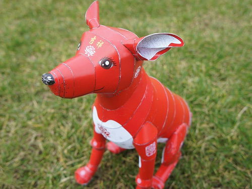 The Stahlhart papercraft dog in its original traditional chinese style version