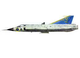 A Draken of F10 with yellow checkered markings