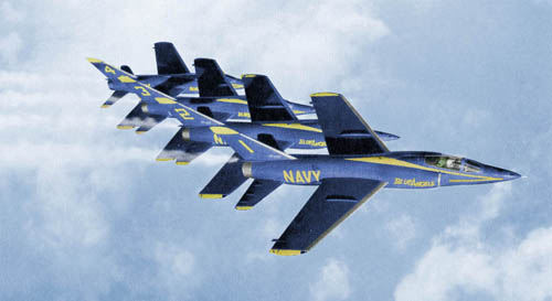 Four Blue Angels' Tigers in Formation