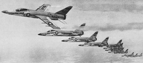A squadron of VF-21 Tigers in formation