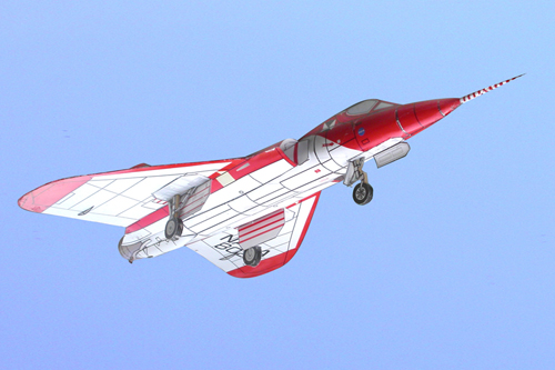 the stahlhart F5d skylancer model senn from below with opened landing gears