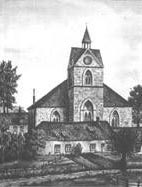 an old drawing of a church