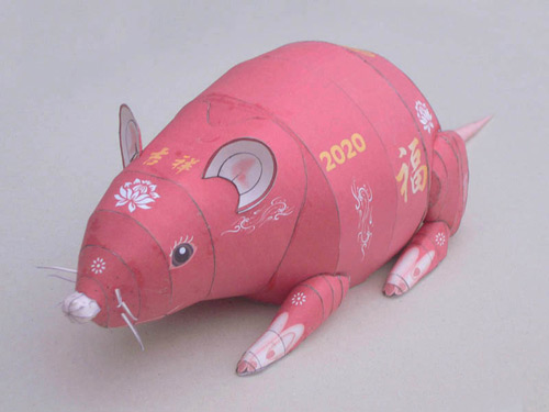 The Stahlhart papercraft rat in its traditional Chinese style version