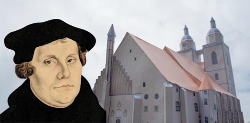 Martin Luther in front of his church in Wittenberg